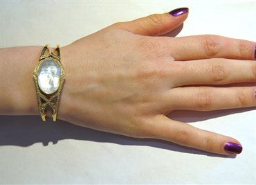 thumbnail image of Stephen Webster Crystal Mother of Pearl Diamond Gold Bangle Bracelet