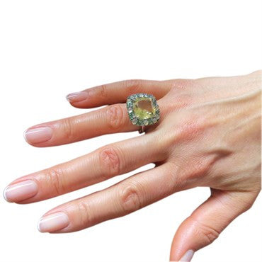 thumbnail image of Modern Lemon Quartz Tsavorite 18k Gold Ring