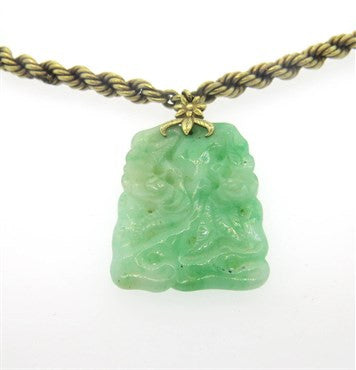 image of Mid Century Carved Jade 14k Gold Necklace