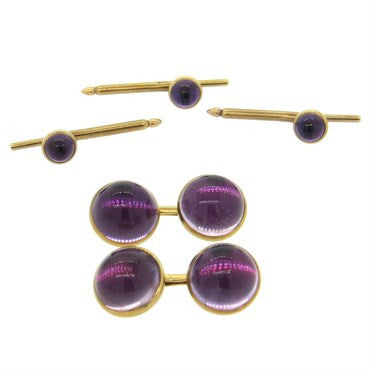 image of 1970s Amethyst Cabochon 14k Gold Cufflinks Stud Dress Set