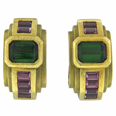 thumbnail image of 1980s Kieselstein Cord Tourmaline Gold Earrings