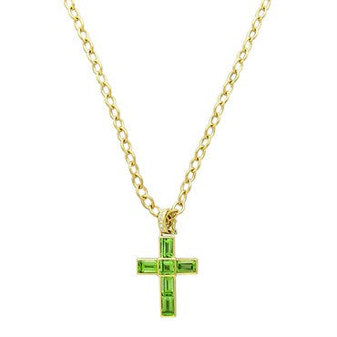 image of New Victor Mayer Faberge Maker 18k Gold Diamond Peridot Cross Necklace