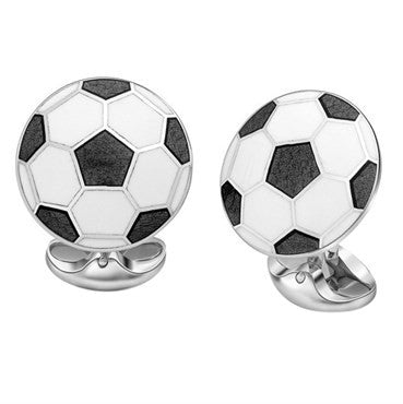 image of Deakin & Francis Football Soccer Enamel Sterling Cufflinks