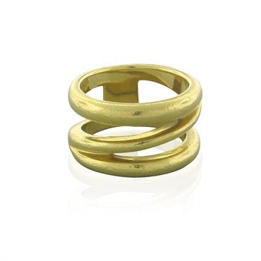 image of Estate Tiffany & Co 18K Yellow Gold Wide Spring Band Ring