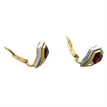 thumbnail image of EGL Certified 18k Gold 5.40ctw Rubellite Tourmaline Diamond Earrings