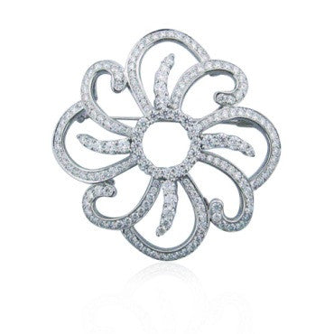 thumbnail image of Hearts onf Fire Platinum 4.00ct Diamond Fragrant Brooch Pin