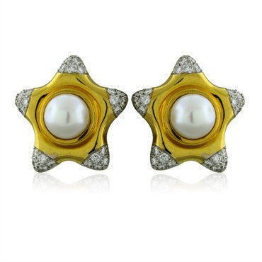 image of Vintage Tiffany & Co 18K Gold Platinum Pearl Diamond Star Earrings