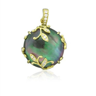 image of Frederic Sage Jelly Vine 18K Gold Mother Of Pearl Diamond Pendant