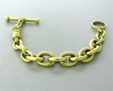 thumbnail image of Kieselstein Cord 18K Gold Chain Link Alligator Toggle Bracelet