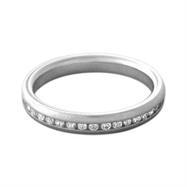 thumbnail image of Estate Platinum Diamond 3mm Eternity Band Ring