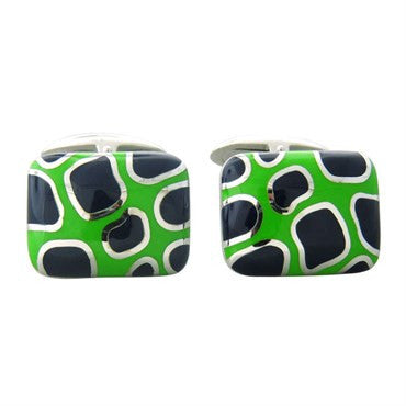 thumbnail image of Roberto Coin Gold Blue Green Enamel Cufflinks
