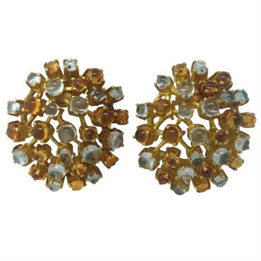 image of Ilias Lalaounis Moonstone Citrine Gold Earrings