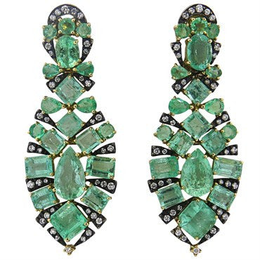 thumbnail image of Marilyn Cooperman Impressive Emerald Diamond Silver 18k Gold Earrings