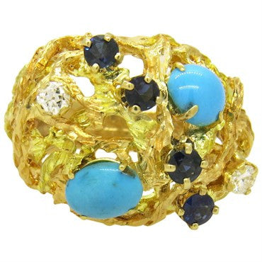 image of Turquoise Sapphire Diamond Gold Dome Ring