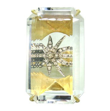 image of H Stern Cobblestone 18k Gold Crystal Diamond Star Ring