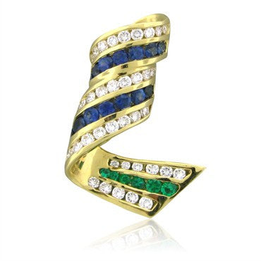 image of Charles Krypell 18K Yellow Gold Emerald Sapphire Diamond Pendant