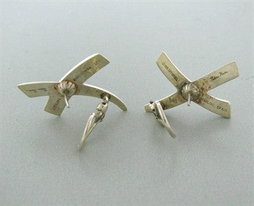 image of Vintage 1985 Tiffany & Co Paloma Picasso Sterling Silver X Earrings