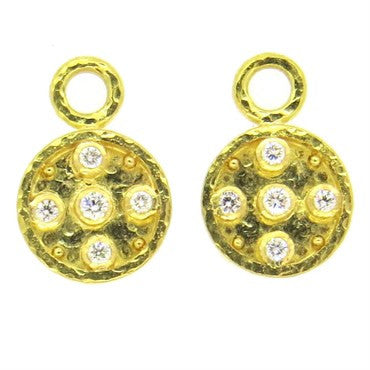 image of Elizabeth Locke Diamond 18k Gold Earring Pendants