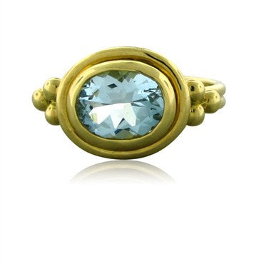 image of New Temple St. Clair 18K Gold Aquamarine Ring
