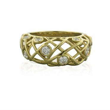 image of New Hearts On Fire Brocade 18K Yellow Gold Diamond Right Hand Ring