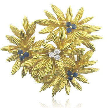 image of Tiffany & Co 18k Gold Sapphire Diamond Brooch Pin