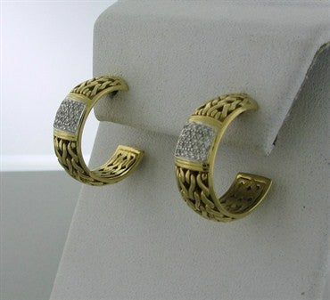 image of John Hardy 18K Yellow Gold Diamond Hoop Earrings