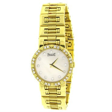 thumbnail image of Piaget Lady's Yellow Gold Diamond Mother of Pearl Dial Dancer Quartz W