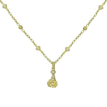 image of Judith Ripka 18k Gold Canary Crystal Diamond Necklace
