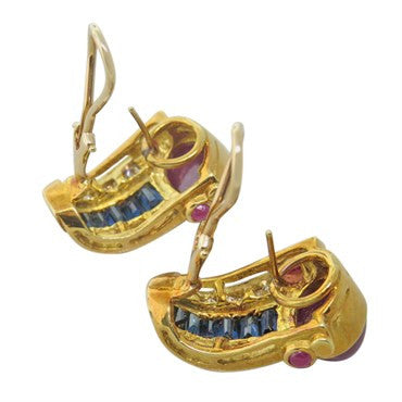 thumbnail image of 1980s Gold Ruby Cabochon Sapphire Diamond Earrings