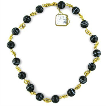 image of New Gurhan 24K Gold Emerald Agate Necklace