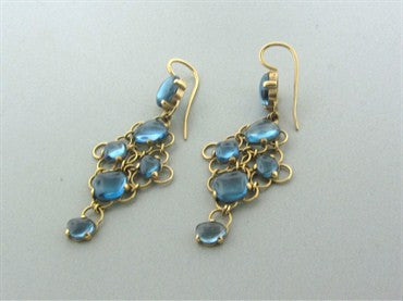 thumbnail image of Pomellato 18K Yellow Gold Blue Topaz Drop Earrings