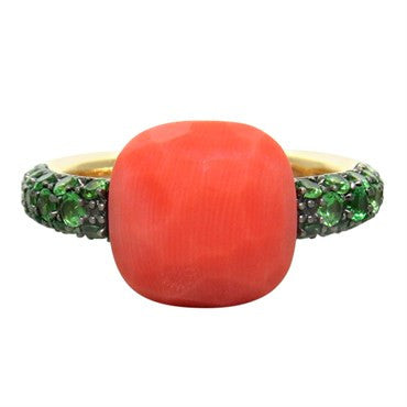 thumbnail image of New Pomellato Capri Coral Tsavorite 18k Gold Ring