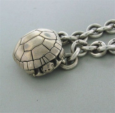 thumbnail image of Estate Kieselstein Cord Sterling Silver Turtle Pendant Chain Necklace