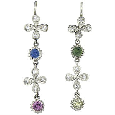 image of Cathy Waterman Multicolor Sapphire Diamond Platinum Daisy Earrings