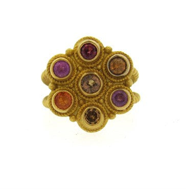 image of Reinstein Ross Multicolor Gemstone 22k Gold Ring