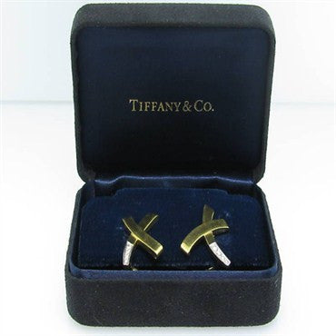 thumbnail image of Tiffany & Co Picasso X 18k Platinum Diamond Earrings