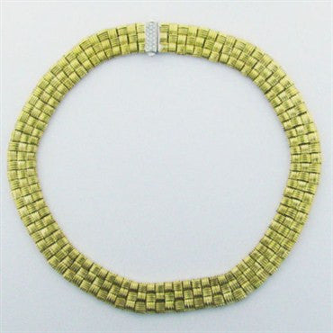 image of Roberto Coin Appassionata 3 Row Woven Diamond Necklace