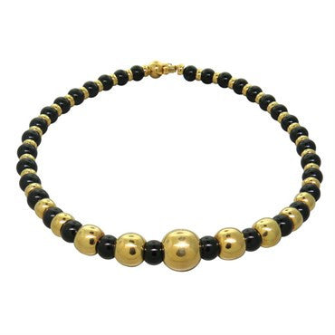 image of 1980s Marina B Sfera Onyx Gold Bead Necklace