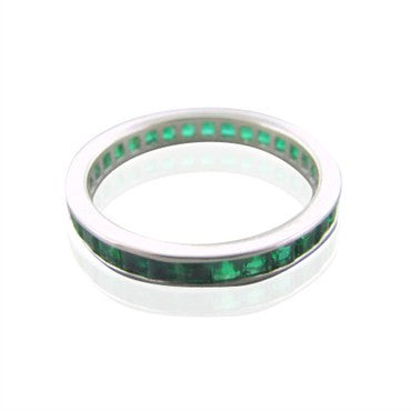 image of New Gumuchian Platinum Princess Cut Emerald Eternity Band
