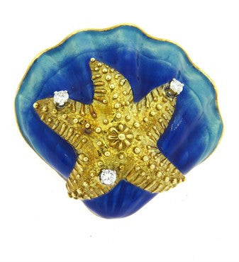 image of 1960s Diamond Enamel 18k Gold Starfish Shell Brooch