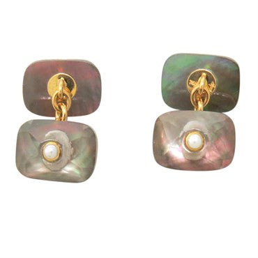 image of Trianon Mother Of Pearl Crystal Pearl Gold Cufflinks