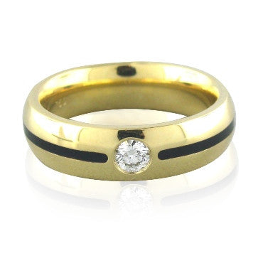 image of New Hearts On Fire Striking Mens Enamel Diamond Ring