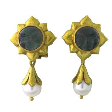 thumbnail image of Elizabeth Locke 18K Gold Venetian Glass Pearl Day Night Earrings