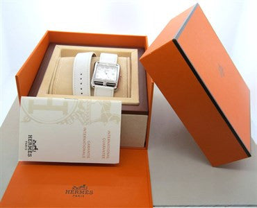 image of Hermes Stainless Steel Cape Cod Wrap Bracelet Wristwatch Ref CC2.710