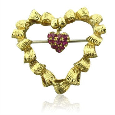 image of Vintage Tiffany & Co 18K Yellow Gold Ruby Heart Brooch Pin