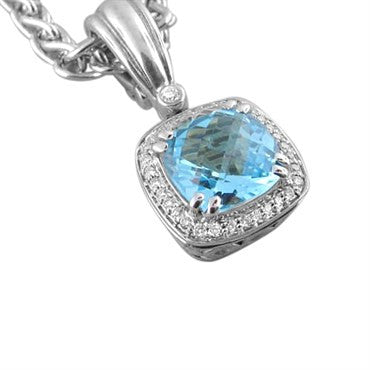 thumbnail image of Krypell Sterling 14k Gold Topaz Diamond Necklace