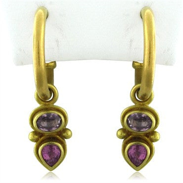 image of Reinstein Ross Taj 22K Yellow Gold Sapphire Drop Earrings