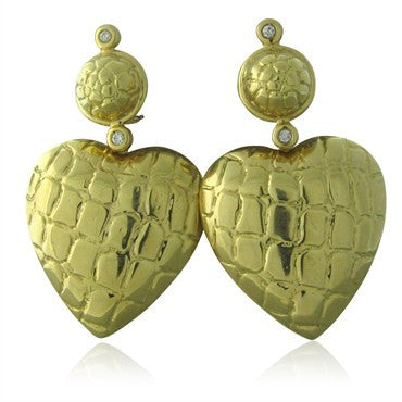 image of Gucci 18K Yellow Gold Diamond Large Heart Earrings