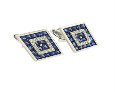 thumbnail image of Large Lucien Piccard Sapphire Diamond 14k Gold Cufflinks