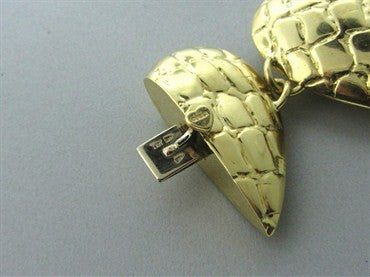 thumbnail image of Vintage Gucci 18K Yellow Gold Large Heart Link Bracelet